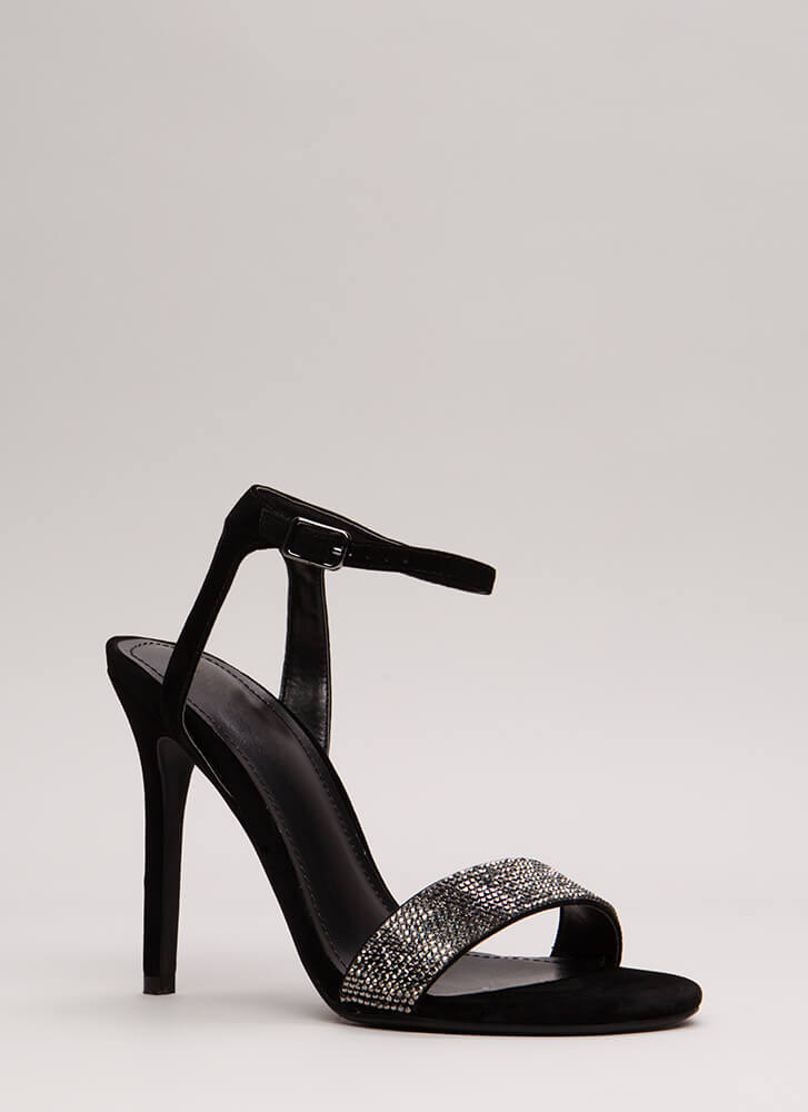 Sparkles Will Fly Strappy Jeweled Heels BLACK