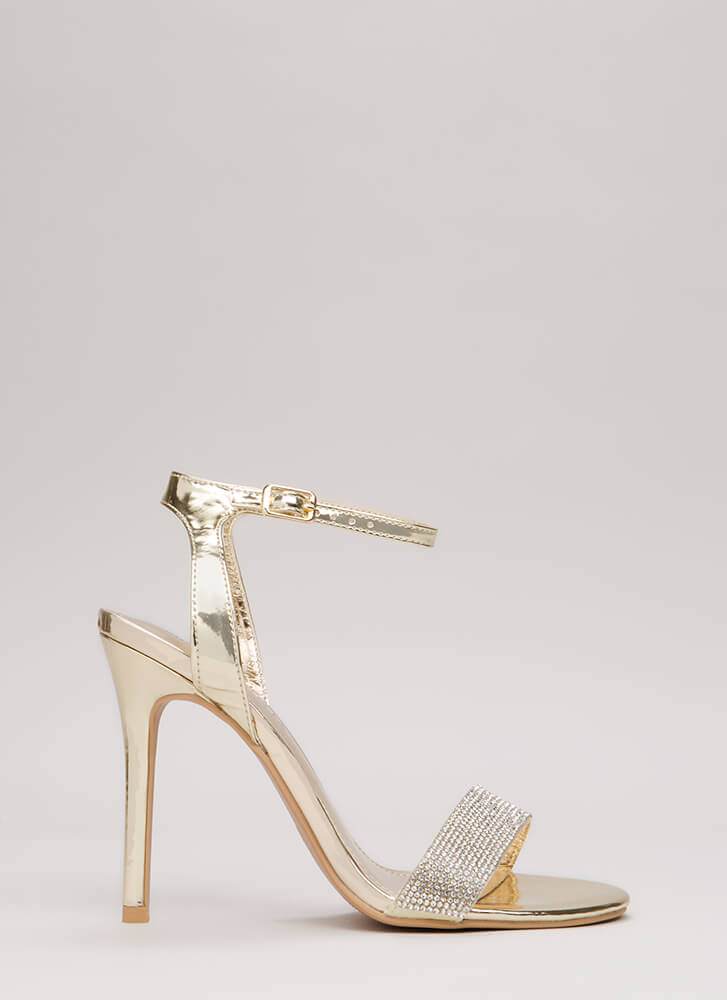 Sparkles Will Fly Strappy Jeweled Heels GOLD