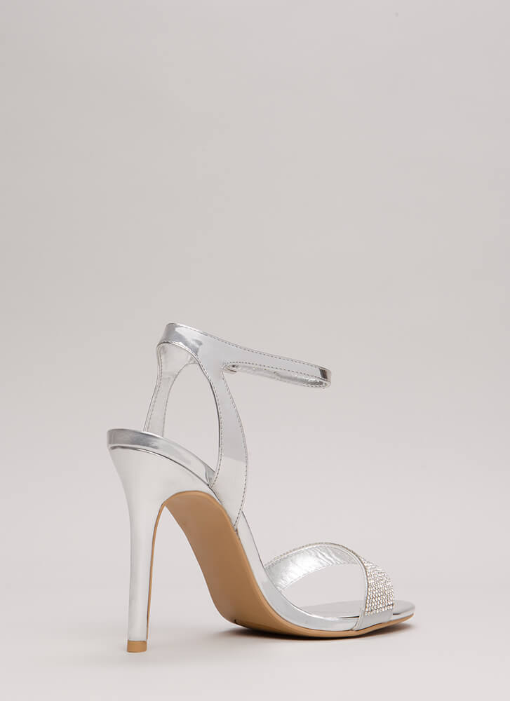 Sparkles Will Fly Strappy Jeweled Heels SILVER