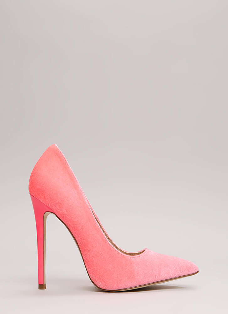 Get There Fast Pointy Velvet Pumps HOTPINK