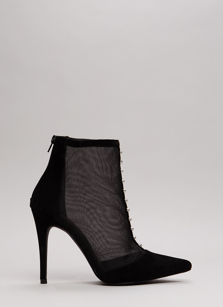 Hardware Store Studded Mesh Booties BLACK