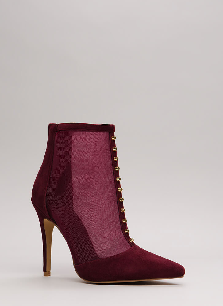 Hardware Store Studded Mesh Booties BURGUNDY