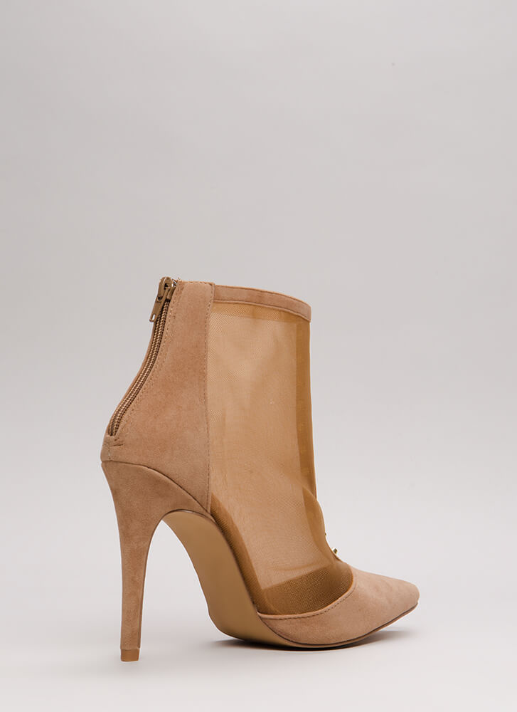 Hardware Store Studded Mesh Booties TAUPE
