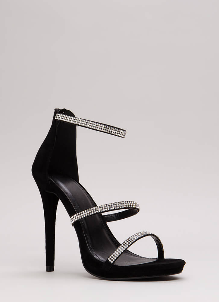 Third Strap's A Charm Jeweled Heels BLACK