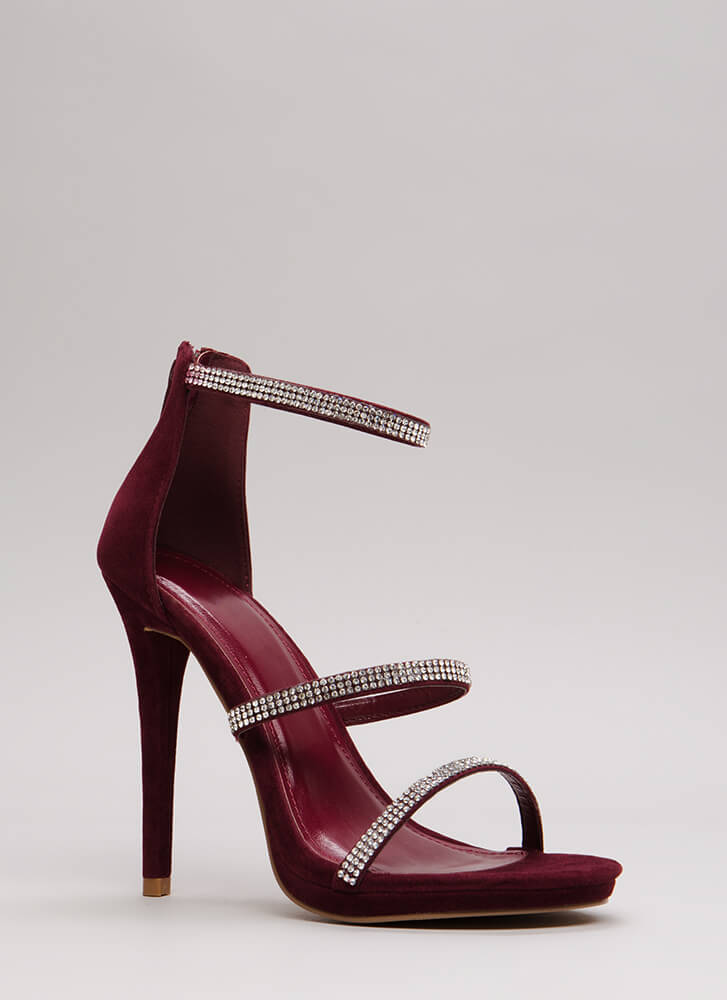 Third Strap's A Charm Jeweled Heels BURGUNDY