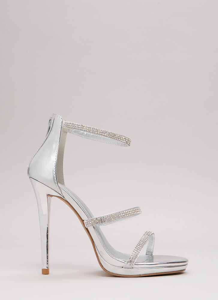 Third Strap's A Charm Jeweled Heels SILVER
