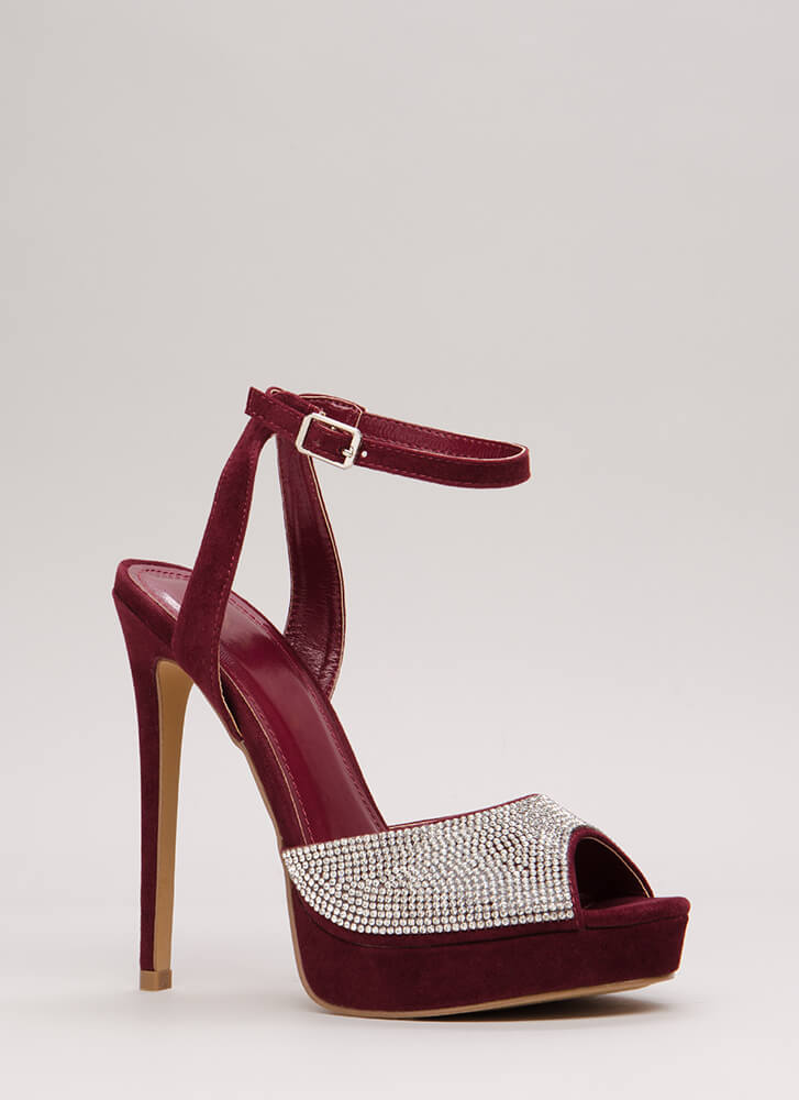 My Sparkle Jeweled Peep-Toe Platforms BURGUNDY
