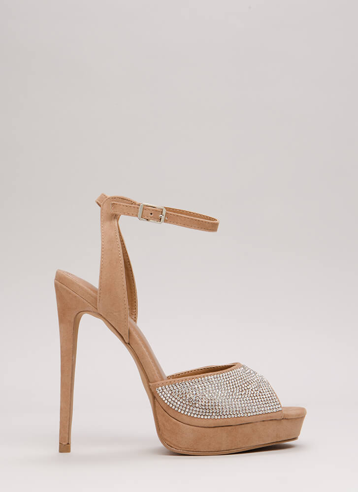 My Sparkle Jeweled Peep-Toe Platforms TAUPE
