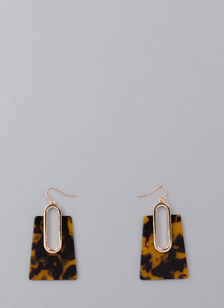 Hear Me Out Marbled Cut-Out Earrings BROWN