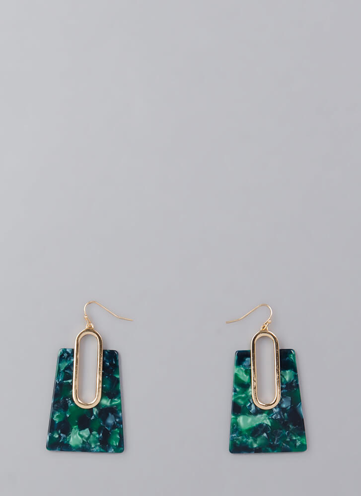 Hear Me Out Marbled Cut-Out Earrings GREEN