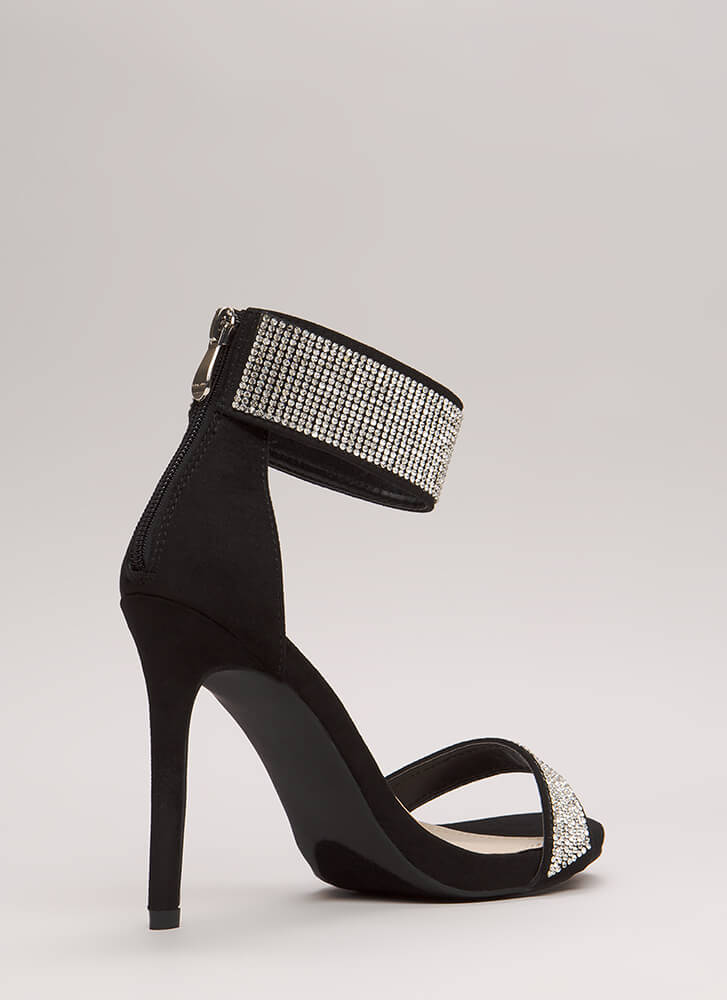 Sparkle Away Faux Suede Ankle Cuff Heels BLACK
