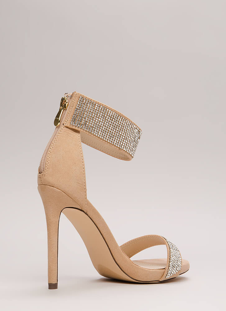 Sparkle Away Faux Suede Ankle Cuff Heels NUDE