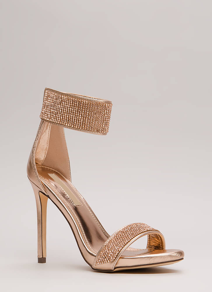Sparkle Away Metallic Ankle Cuff Heels ROSEGOLD (Final Sale)
