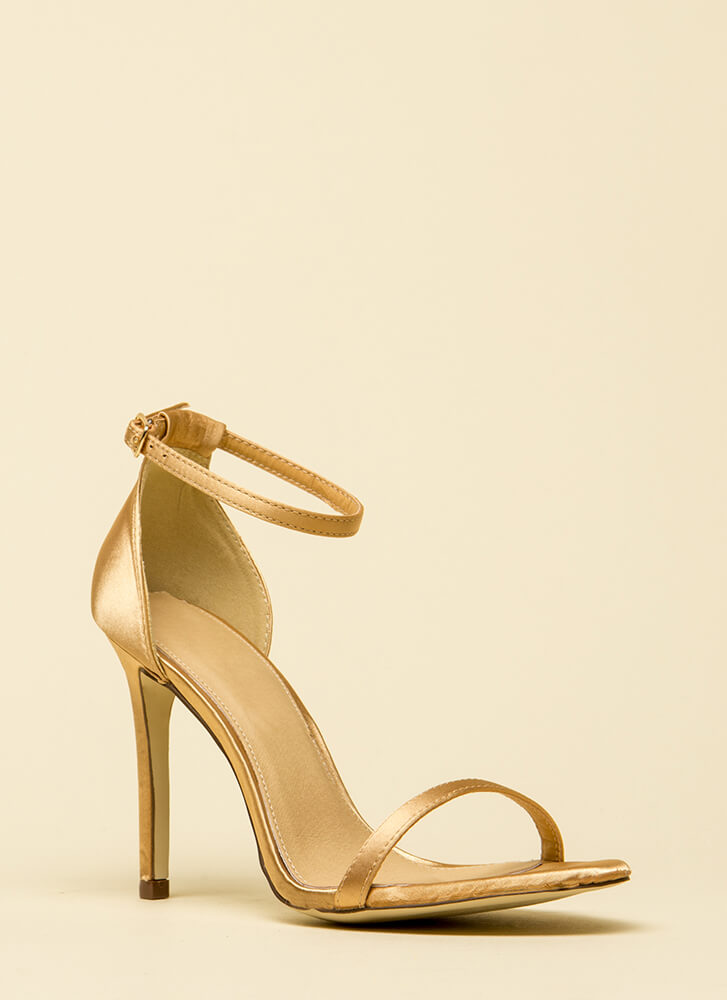 The Skinny Satin Ankle Strap Heels CHAMPAGNE