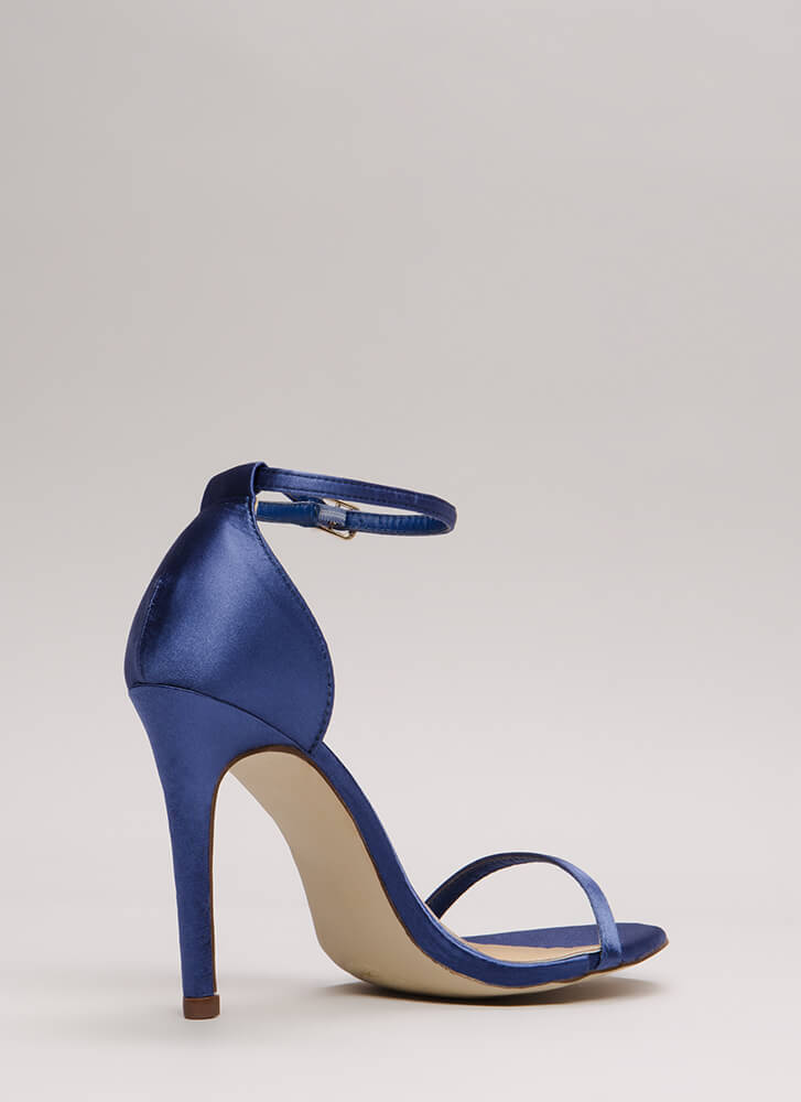 The Skinny Satin Ankle Strap Heels MOONLIGHT
