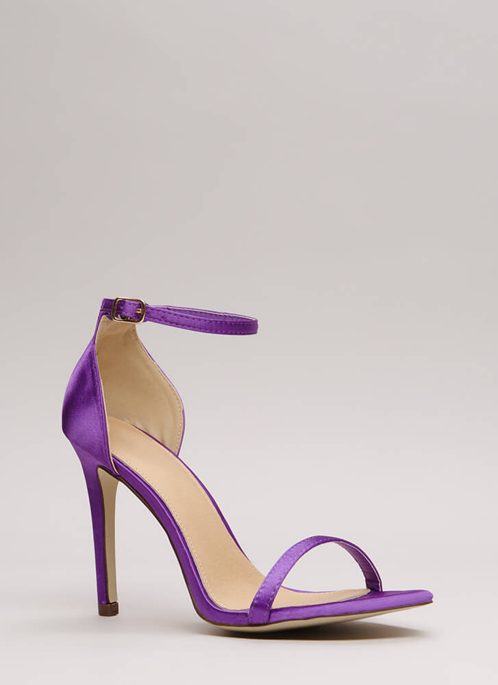 The Skinny Satin Ankle Strap Heels PURPLE