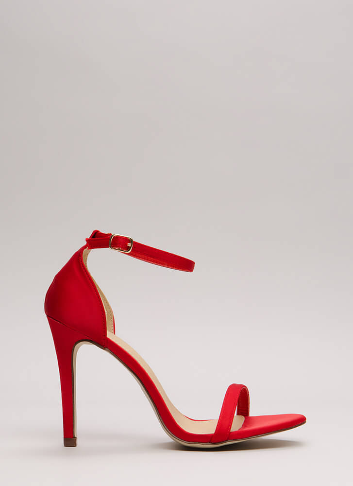 The Skinny Satin Ankle Strap Heels RED