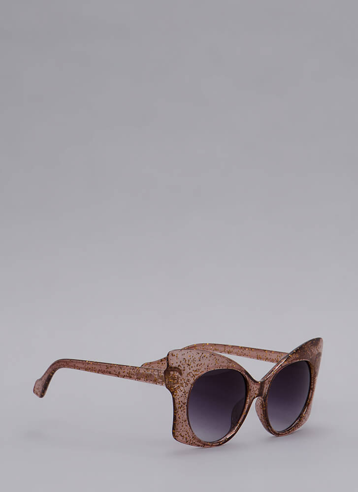 Butterfly Effect Glittery Sunglasses BROWN