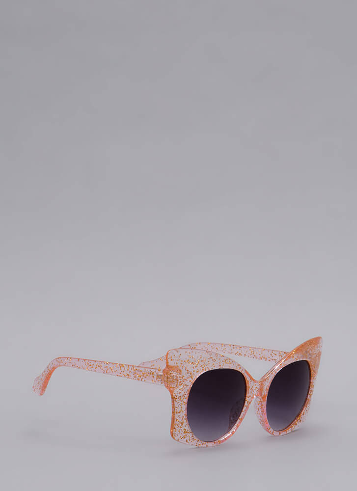 Butterfly Effect Glittery Sunglasses PINK