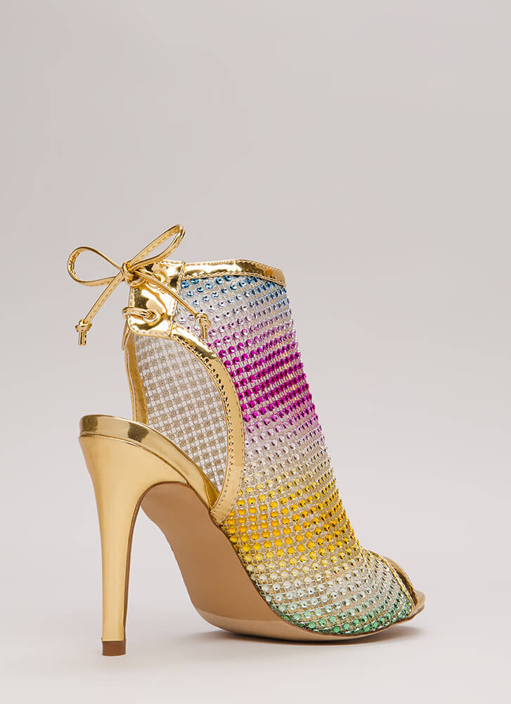 Nonstop Sparkle Jeweled Cut-Out Heels MULTI