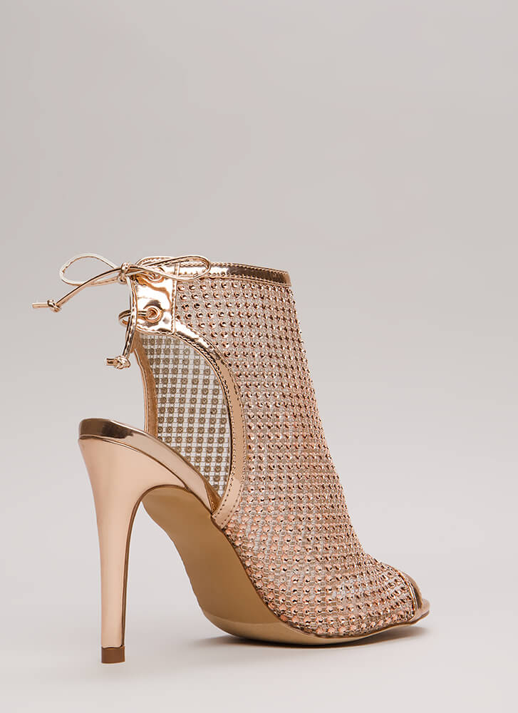 Nonstop Sparkle Jeweled Cut-Out Heels ROSEGOLD