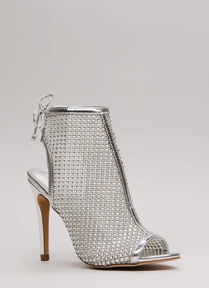 Nonstop Sparkle Jeweled Cut-Out Heels SILVER