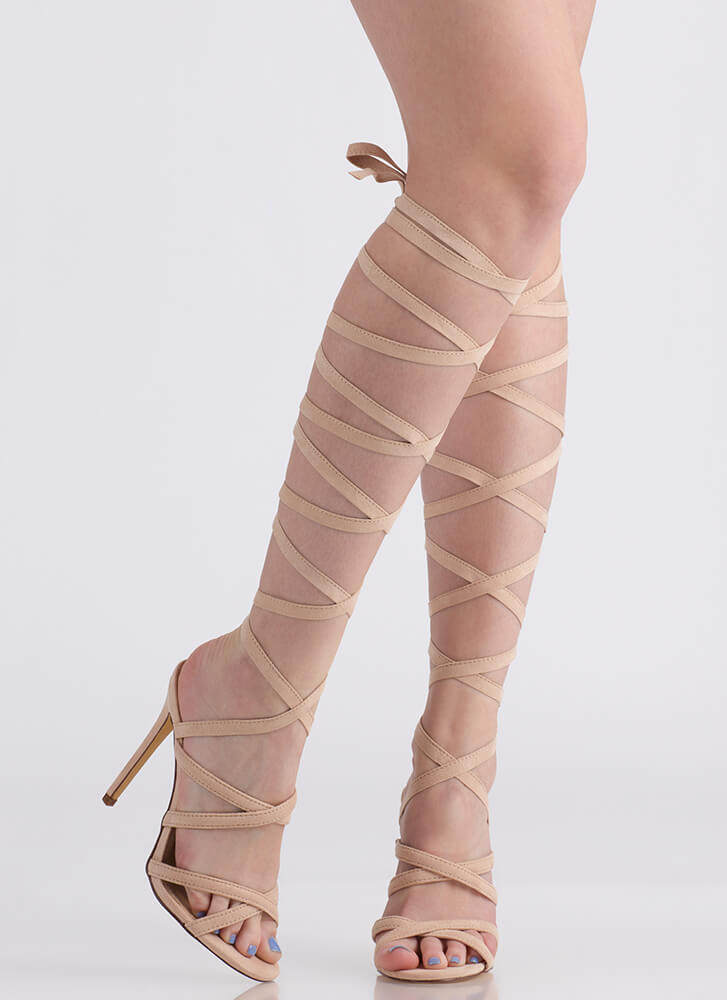 I'm A Wrap Superstar Lace-Up Heels NUDE