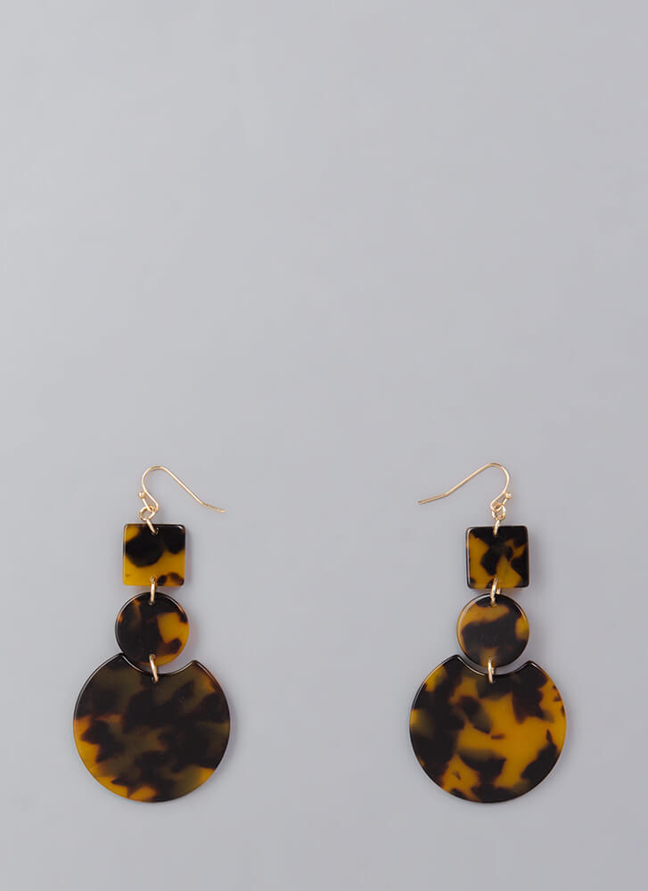 Learn Your Shapes Marbled Earrings LEOPARD