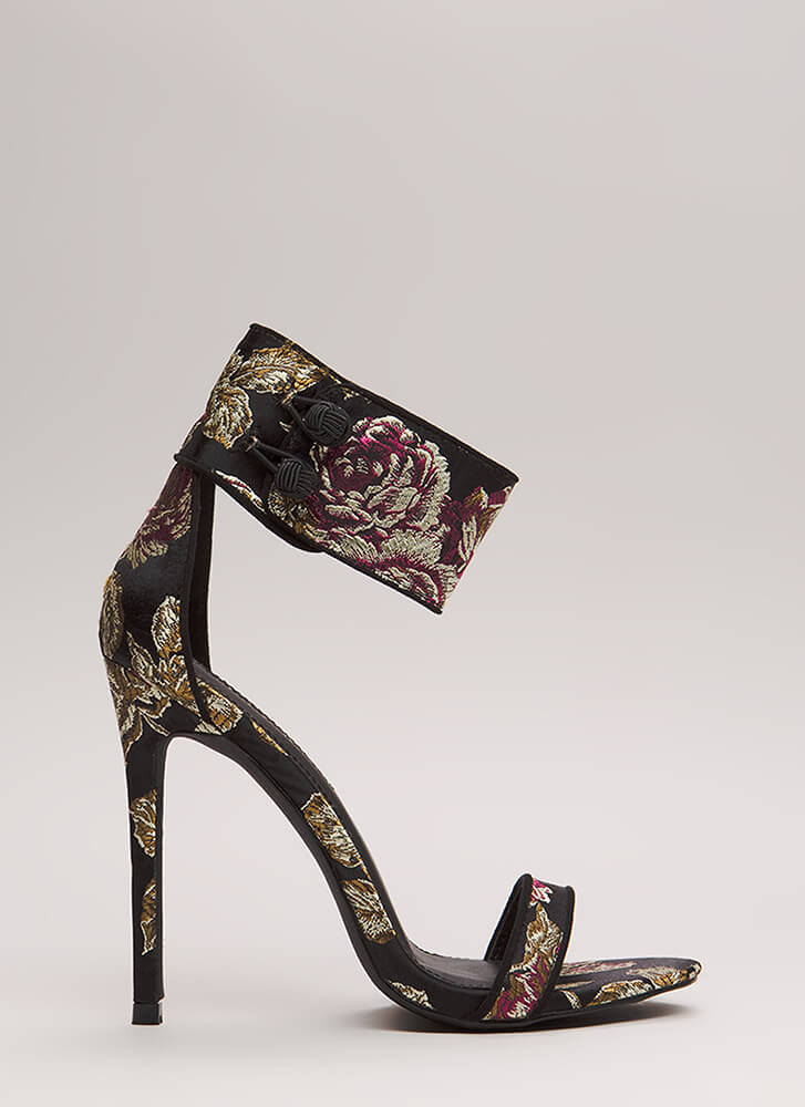 Fine China Embroidered Ankle Cuff Heels BLACK