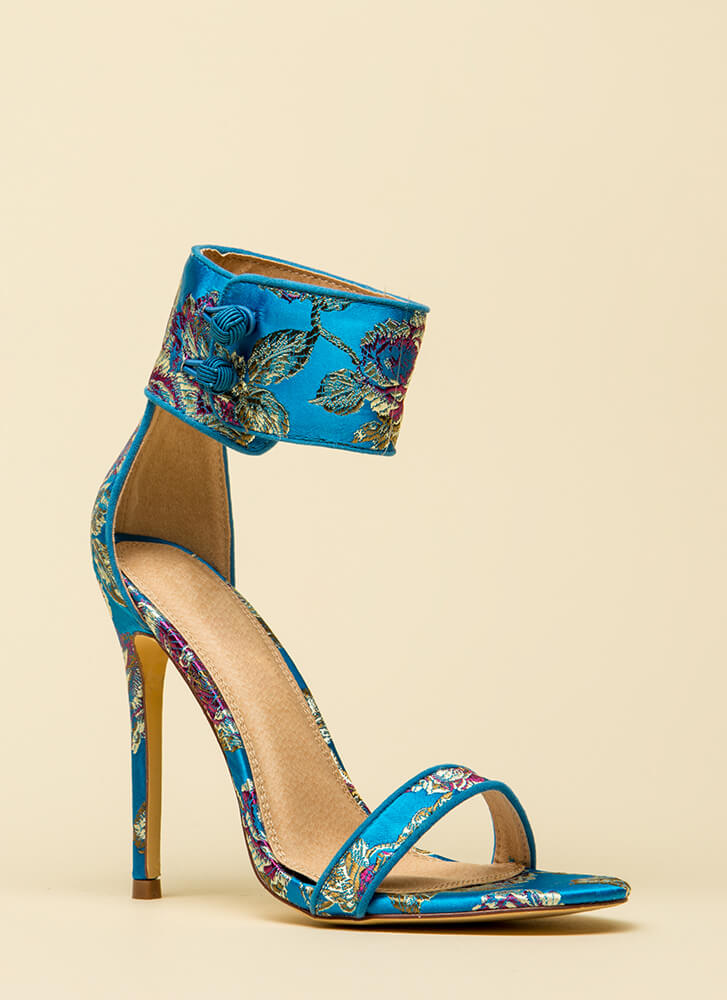 Fine China Embroidered Ankle Cuff Heels BLUE