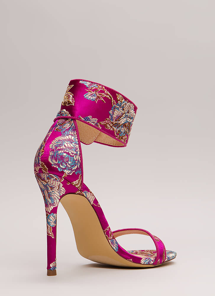 Fine China Embroidered Ankle Cuff Heels FUCHSIA