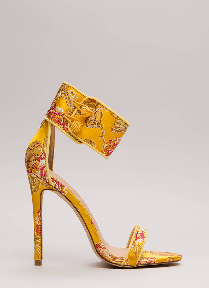 Fine China Embroidered Ankle Cuff Heels YELLOW