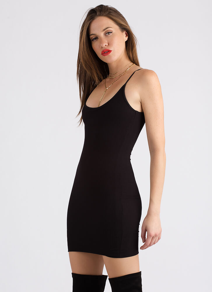 The Simple Answer Ribbed Scoop Dress BLACK