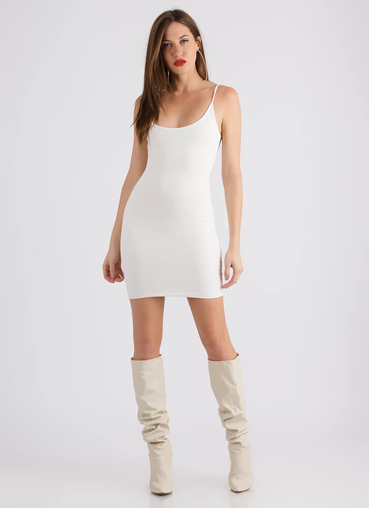 The Simple Answer Ribbed Scoop Dress IVORY