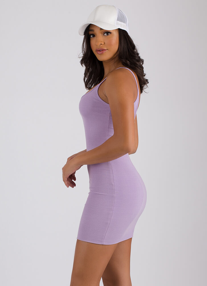 The Simple Answer Ribbed Scoop Dress LAVENDER