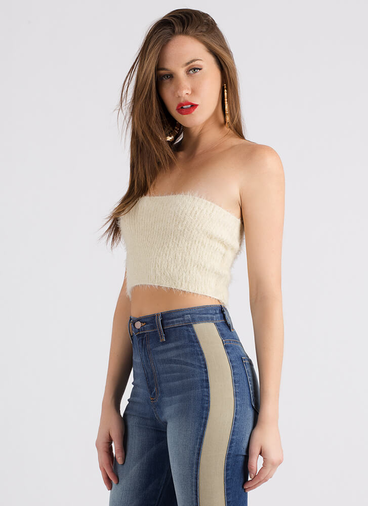 I Adore You Fuzzy Knit Tube Top IVORY
