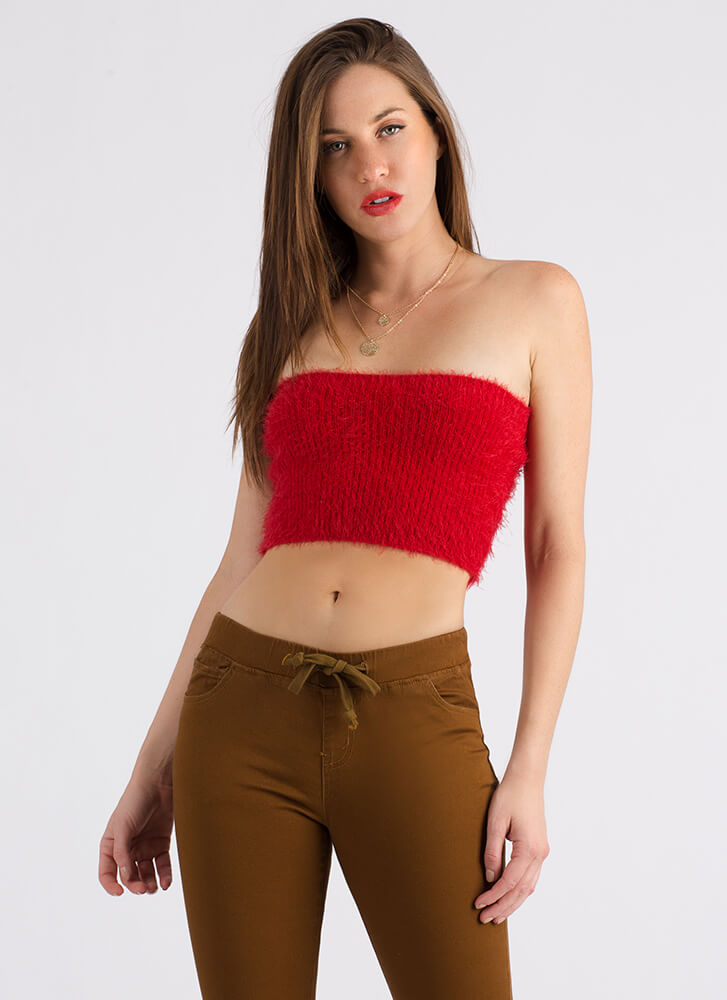 I Adore You Fuzzy Knit Tube Top RED