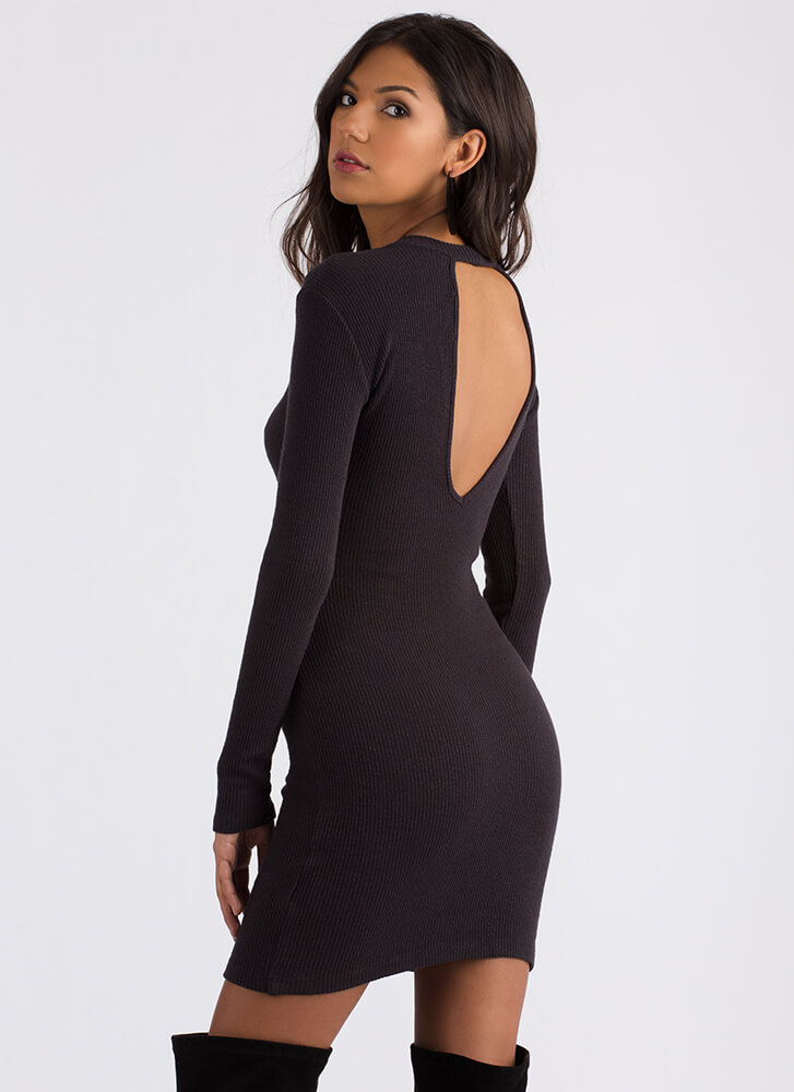 The First Cut-Out Ribbed Choker Dress CHARCOAL