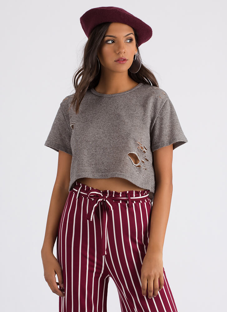 Carefree Day Distressed Crop Top HGREY
