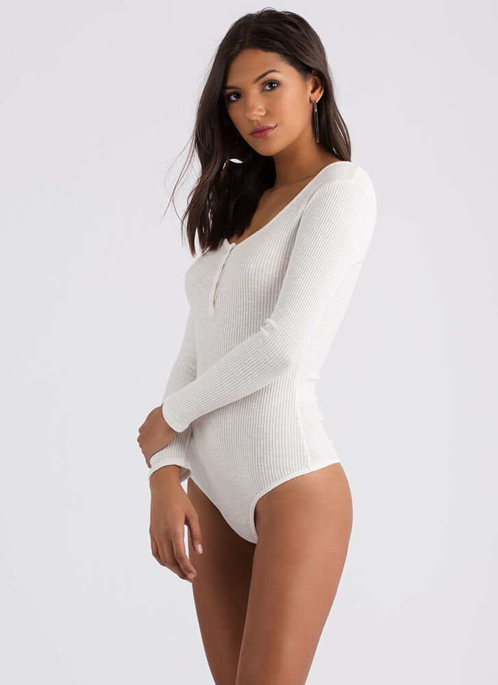 Small Victories Ribbed Thong Bodysuit IVORY
