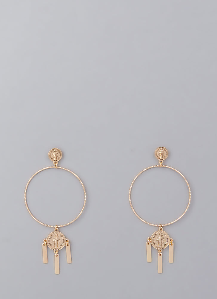 Pray Hard Oversized Hoop Earrings GOLD