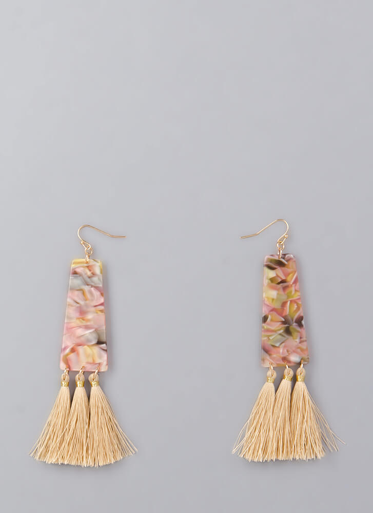 Party Of Three Marbled Tassel Earrings NATURAL