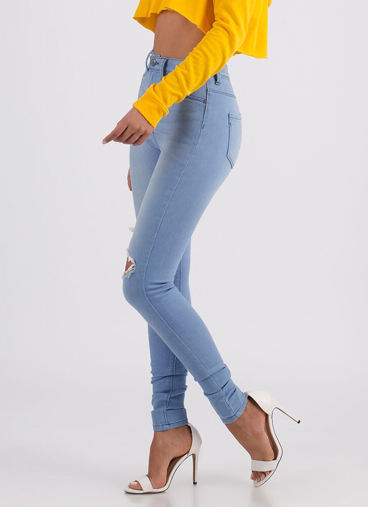 Let It Rip Distressed High-Waisted Jeans LTBLUE