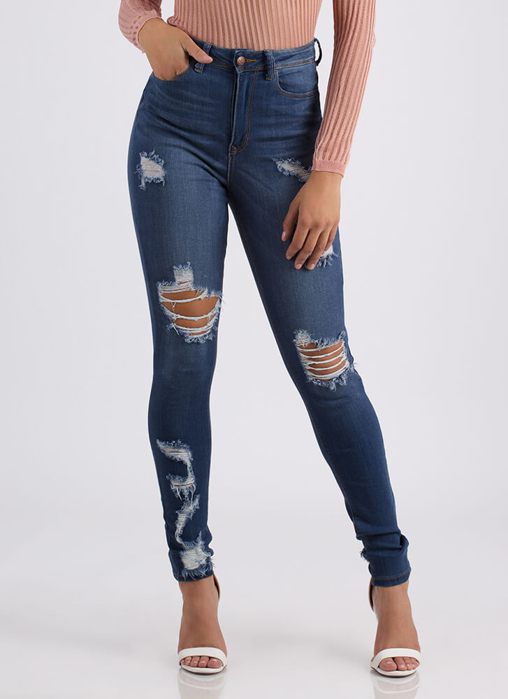 Back At It Destroyed High-Waisted Jeans BLUE