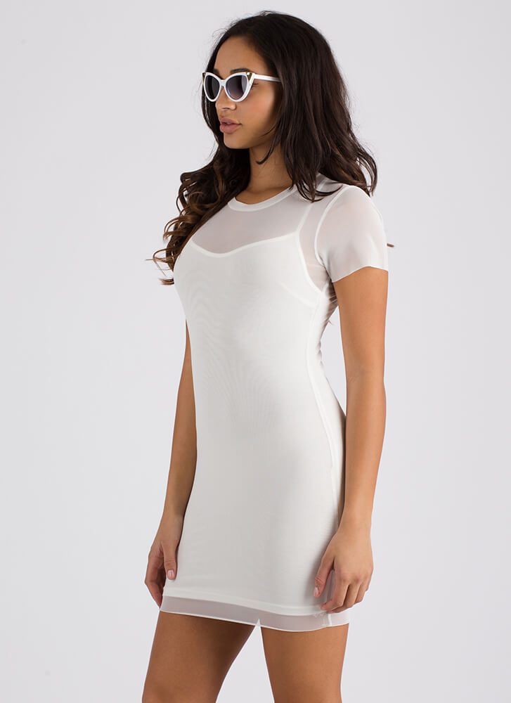 Two Become One Sheer Layered Minidress OFFWHITE