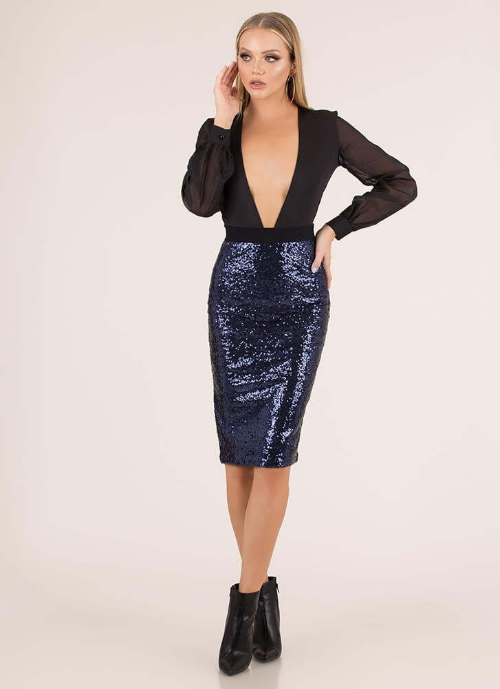 Party Of One Sequined Pencil Skirt BLUE