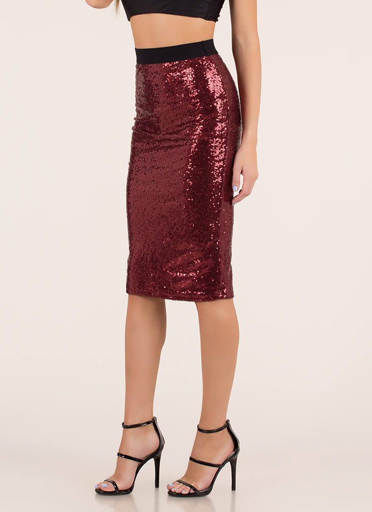 Party Of One Sequined Pencil Skirt WINE