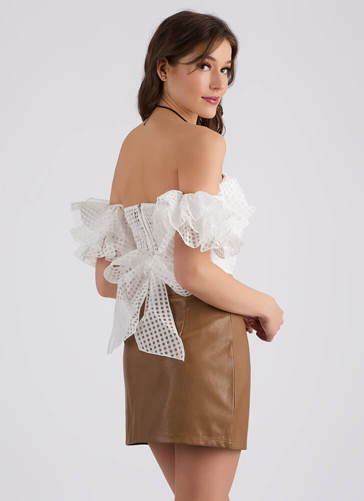 Ring Me Up Faux Leather Miniskirt CAMEL