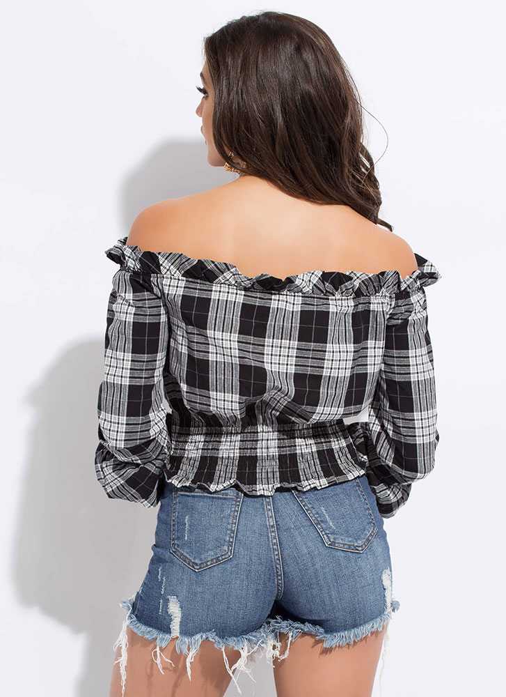 Going Plaid Ruffled Off-Shoulder Top BLACK