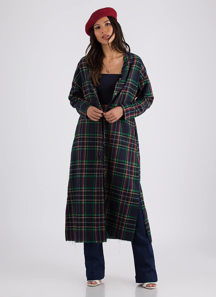 Plaid Rush Button-Up Flannel Duster NAVY